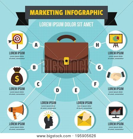 marketing infographic banner concept. Flat illustration of marketing infographic vector poster concept for web