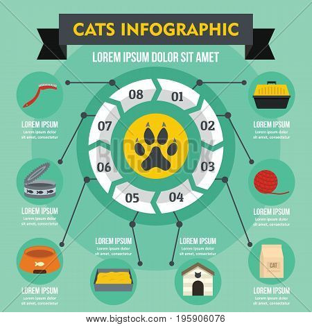 Cats infographic banner concept. Flat illustration of cats infographic vector poster concept for web