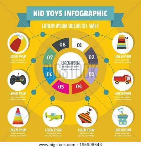 Kid toys infographic banner concept. Flat illustration of kid toys infographic vector poster concept for web
