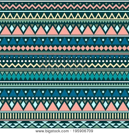 Colorful ethnic seamless pattern. Cute tribal background. Geometrical backdrop. Vector illustration.