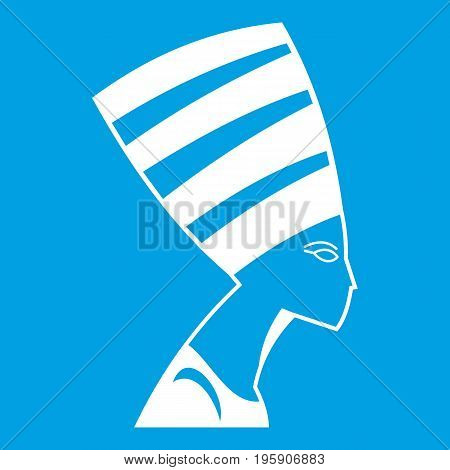 The head of the Egyptian queen icon white isolated on blue background vector illustration