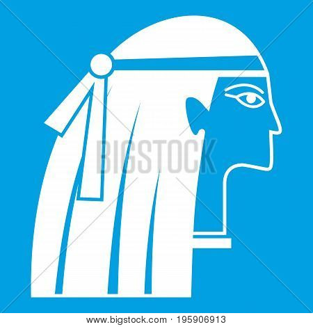 Egyptian girl icon white isolated on blue background vector illustration