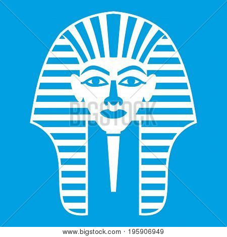 Tutankhamen mask icon white isolated on blue background vector illustration