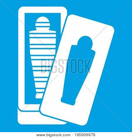 Mummy in sarcophagus icon white isolated on blue background vector illustration
