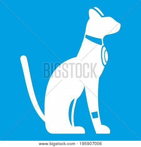 Egyptian cat icon white isolated on blue background vector illustration