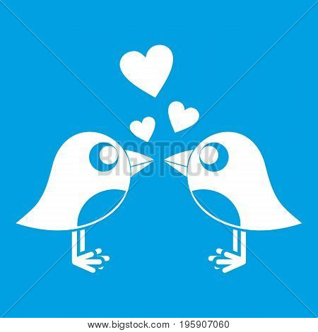 Two birds with hearts icon white isolated on blue background vector illustration