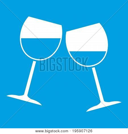Two wine glasses icon white isolated on blue background vector illustration