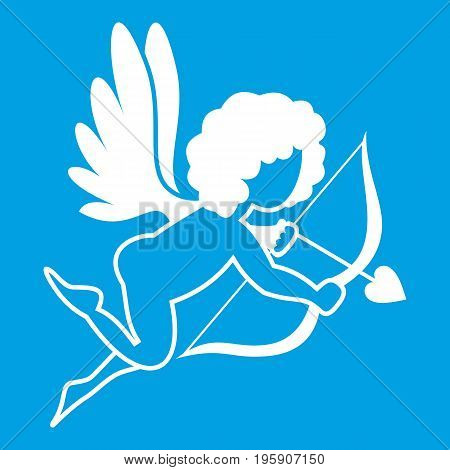 Love Cupid icon white isolated on blue background vector illustration