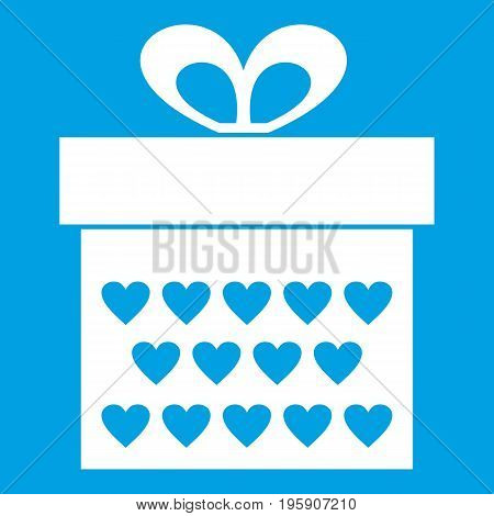 Gift box with ribbon bow icon white isolated on blue background vector illustration