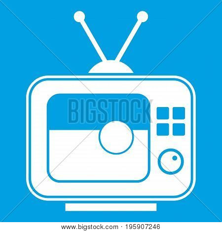 Soccer match on TV icon white isolated on blue background vector illustration
