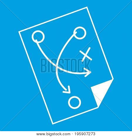 Soccer strategy icon white isolated on blue background vector illustration