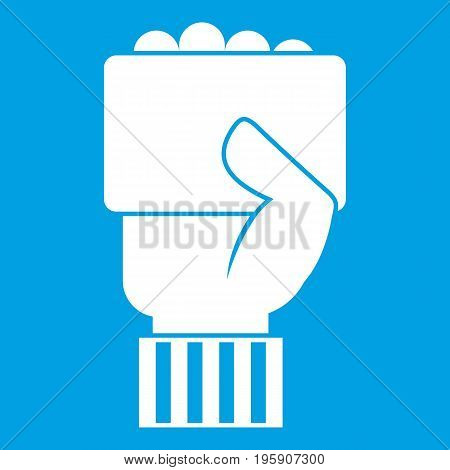 Hand of soccer referee showing card icon white isolated on blue background vector illustration