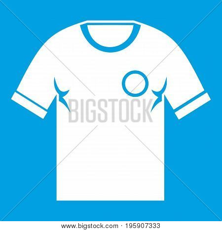 Soccer shirt icon white isolated on blue background vector illustration