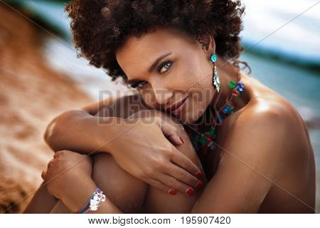 African American Woman Sunbathing,vacation.