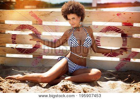 African American Woman Sunbathing,vacation.