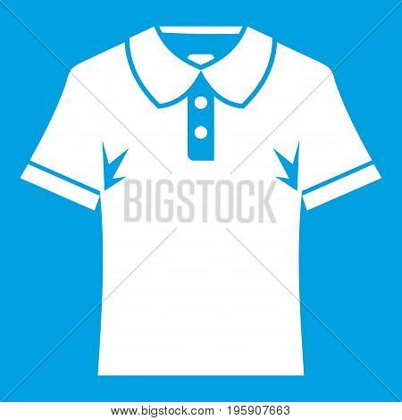 Men polo shirt icon white isolated on blue background vector illustration