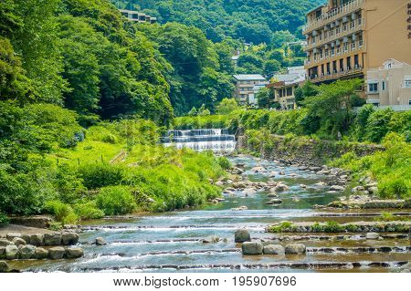 Beautiful view of river at Hakone Town.