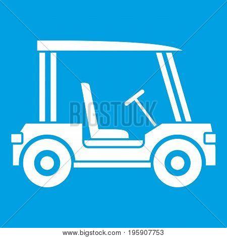 Golf club vehicle icon white isolated on blue background vector illustration