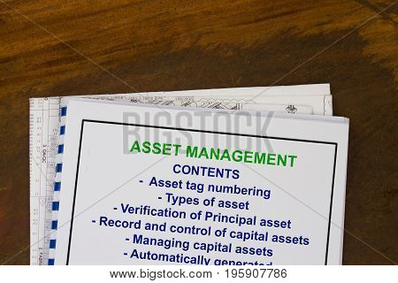 Asset management concept- cover sheet containing topics