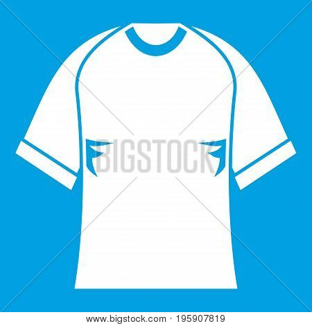 Raglan tshirt icon white isolated on blue background vector illustration