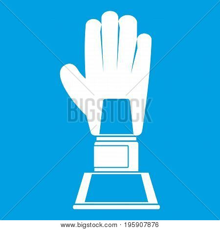 Baseball glove award icon white isolated on blue background vector illustration
