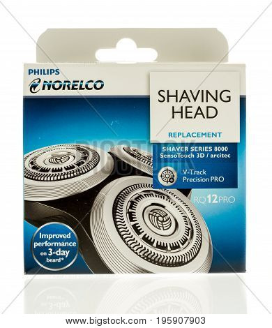Winneconne WI - 10 July 2017: A package of Phiips Norelco replacment shaving head on an isolated background.