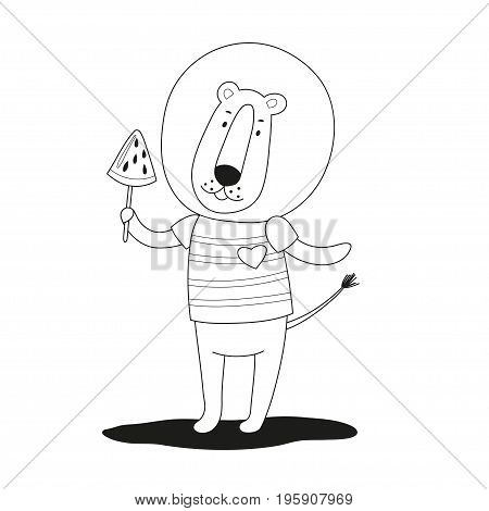 Lovely cartoon lion with ice cream in his paw. Black and white vector illustration.