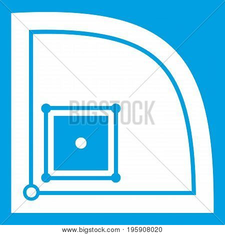 Baseball field icon white isolated on blue background vector illustration