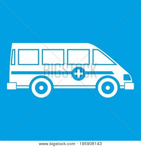 Ambulance emergency van icon white isolated on blue background vector illustration