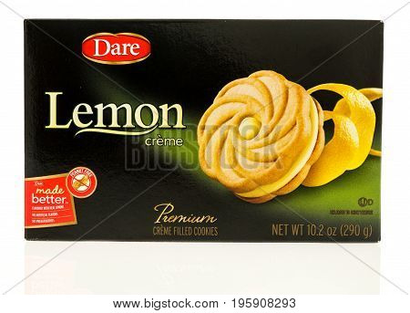 Winneconne WI - 15 July 2017: A box of Dare lemon creme filled cookies on an isolated background.