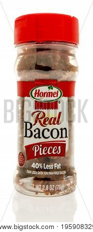 Winneconne WI - 15 July 2017: A bottle of Hormel real bacon pieces on an isolated background.