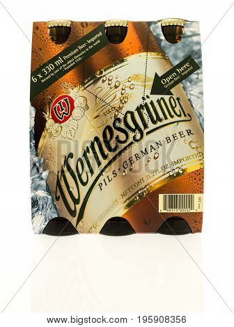 Winneconne WI - 16 July 2017: A six pack of Wernesgruner German beer on an isolated background.