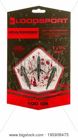 Winneconne WI - 16 July 2017: A package of Bloodsport grave digger broadheads on an isolated background.