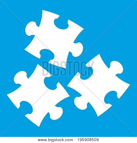 Puzzle icon white isolated on blue background vector illustration