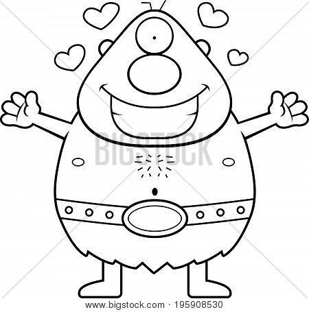 Cartoon Cyclops Hug