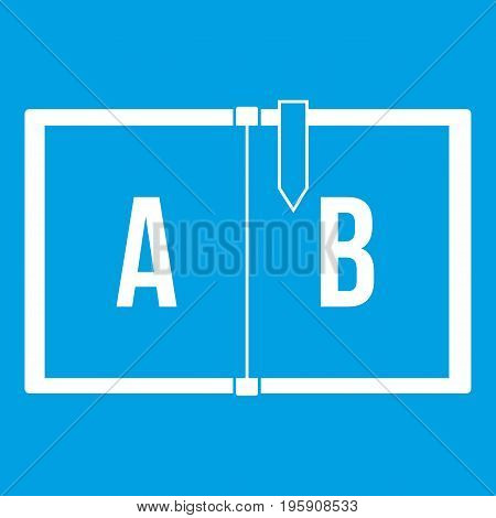 Children abc icon white isolated on blue background vector illustration