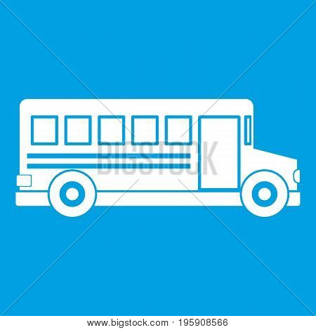 School bus icon white isolated on blue background vector illustration
