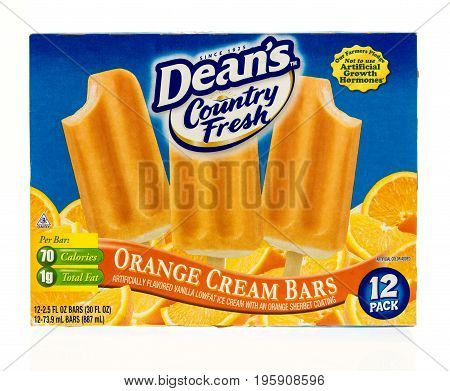 Winneconne WI - 15 July 2017: A boxof Dean's Country Fresh orange cream bars on an isolated background.