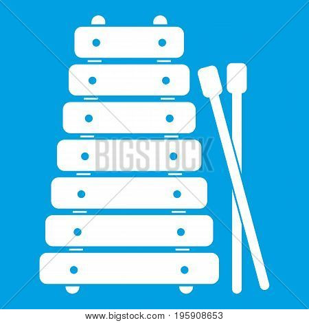 Xylophone and sticks icon white isolated on blue background vector illustration