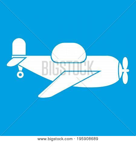 Toy plane icon white isolated on blue background vector illustration