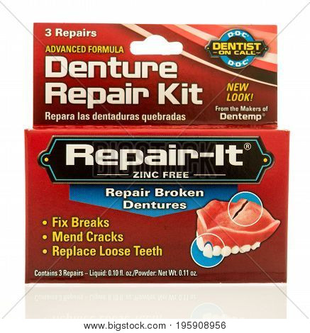 Winneconne WI - 16 July 2017: A box of Repair-it denture repair kit on an isolated background.