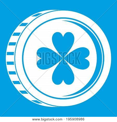 Coin with clover sign icon white isolated on blue background vector illustration