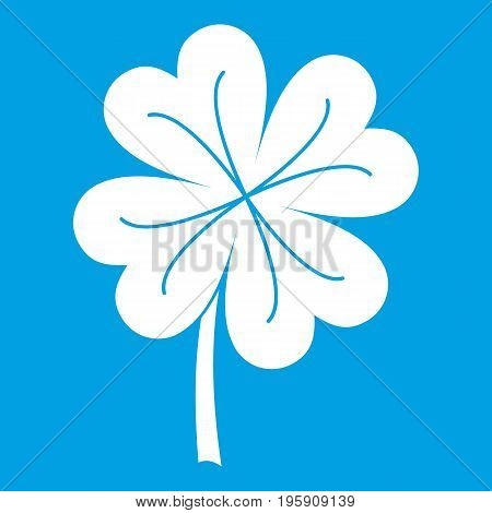 Clover leaf icon white isolated on blue background vector illustration