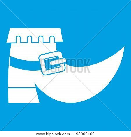 Boot with buckle icon white isolated on blue background vector illustration