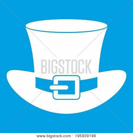 Top hat with buckle icon white isolated on blue background vector illustration