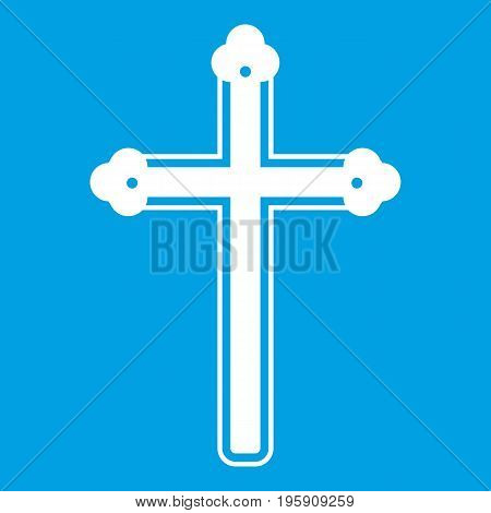 Holy cross icon white isolated on blue background vector illustration