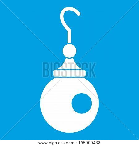Earring icon white isolated on blue background vector illustration