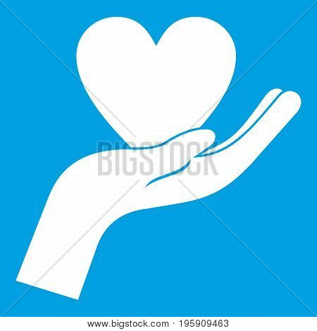 Hand holding heart icon white isolated on blue background vector illustration
