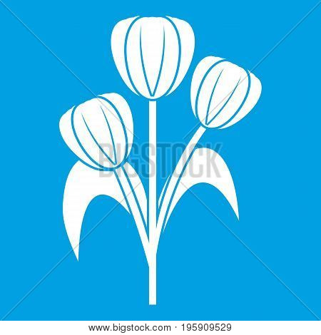 Flowers icon white isolated on blue background vector illustration