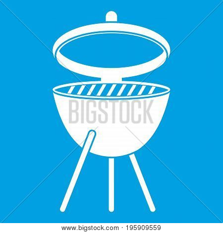 Barbecue icon white isolated on blue background vector illustration